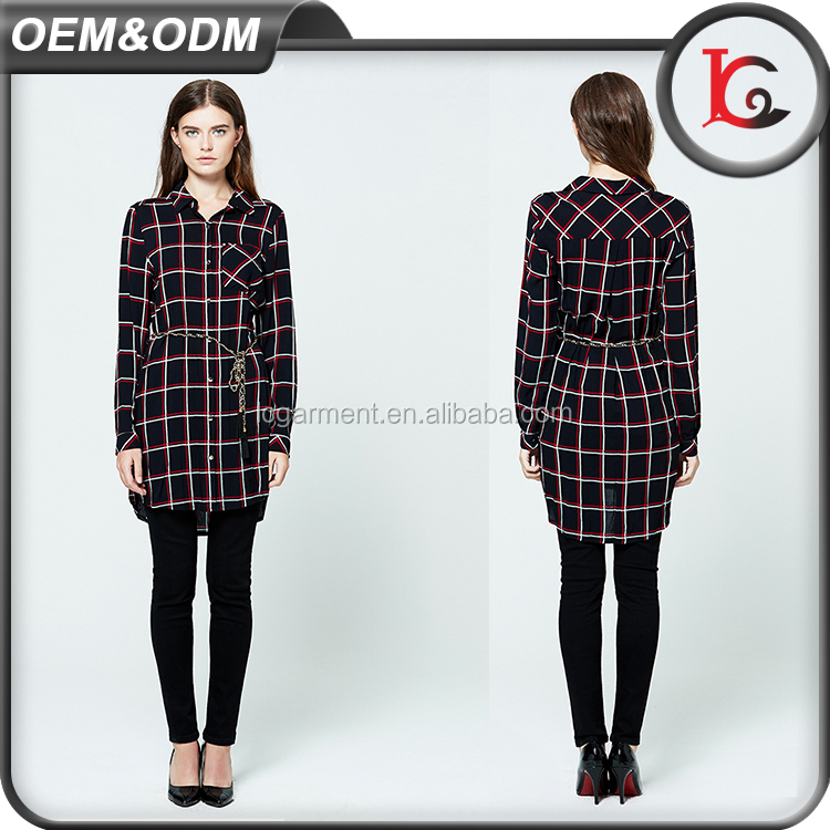 hot selling fashion long sleeve lady cotton blouse pictures long plaid shirt latest blouse designs