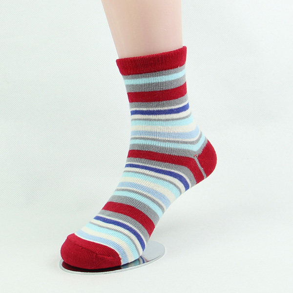 Custom red and white striped socks for girls