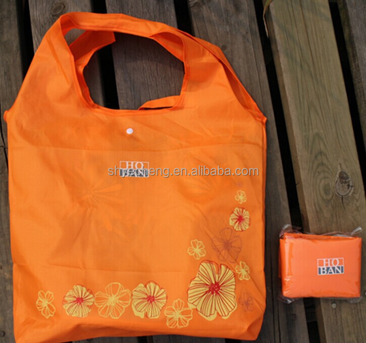 Recycled waterproof foldable polyester shopping bag (YC7574)