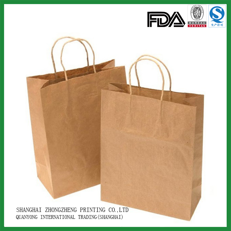 recycled brown kraft paper gift shopping bags wholesale India with handles