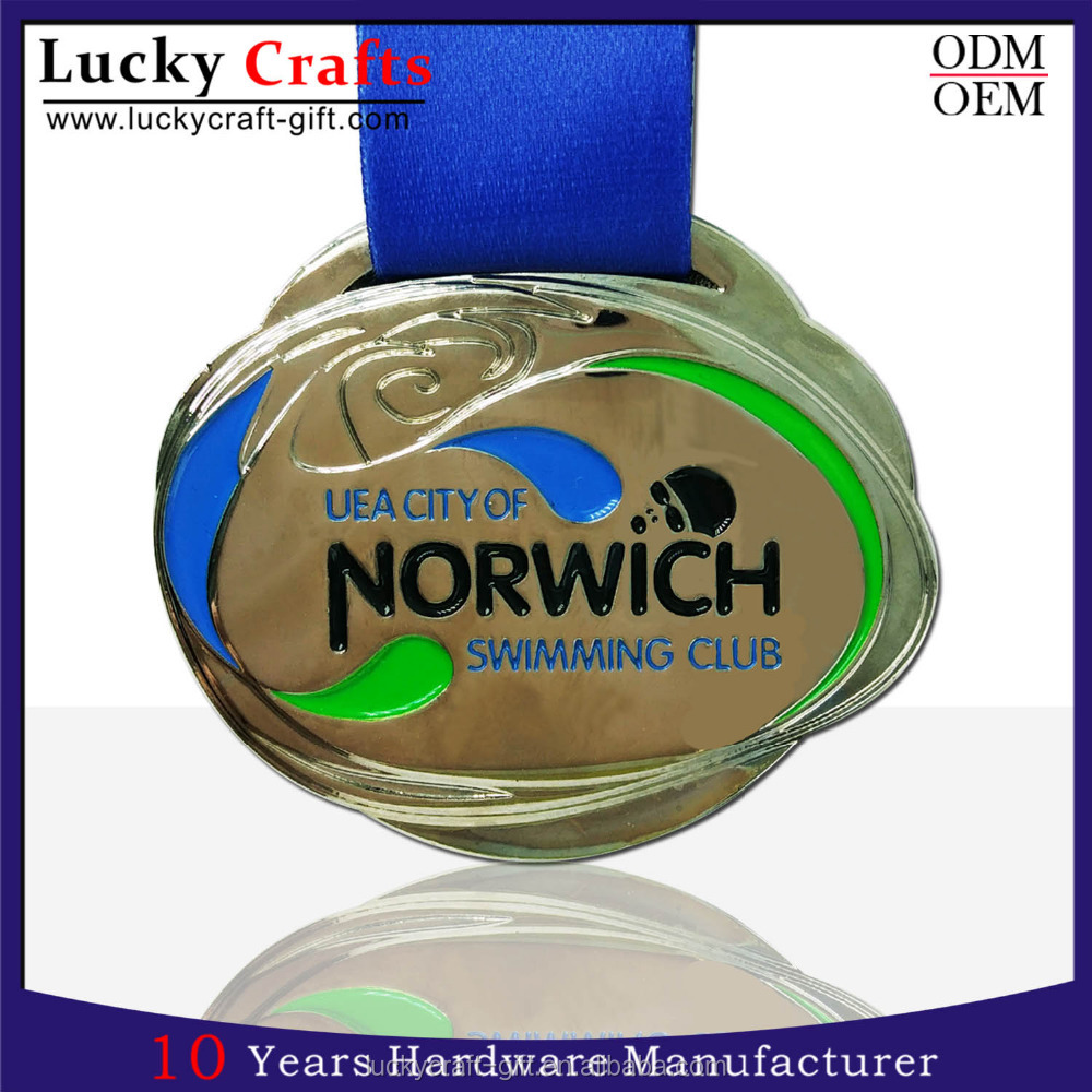 Custom made swim team award sports metal medal medallion manufacture