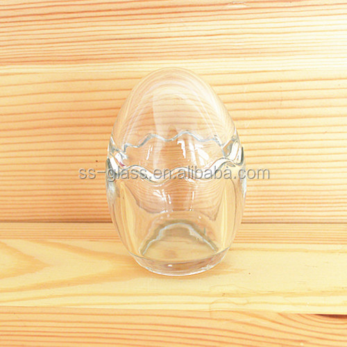 Special egg shaped two half part pudding glass bottle decorative bottle for gift