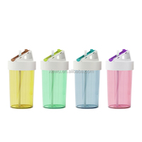 Fashionable colored insulated plastic water bottle with straw