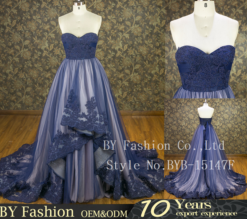 100% Real sexy night navy blue lace and chiffon bride wedding gown evening dress
