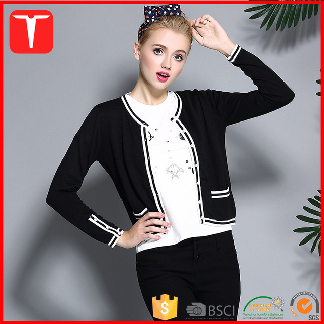 Trendy white black merino wool sweaters cardigan 2016 women