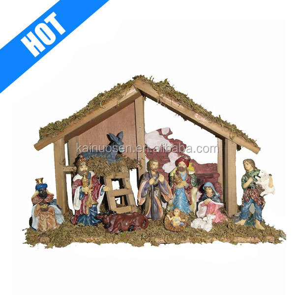 Wooden Stable with 10 Resin Figures christmas Nativity Set