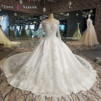 LS00112 modest crystal bead latest western dress patterns for ladies wedding long dresses with long sleeves satin wedding dresse