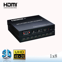 remote control hdmi splitter 1*8 with audio amplifier