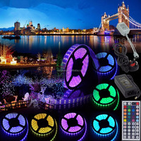 32.8Ft SMD5050 RGB 12V5A Power Adapter Non-Waterproof LED Strip Light Emergency Kit for Party Wedding Home Decoration