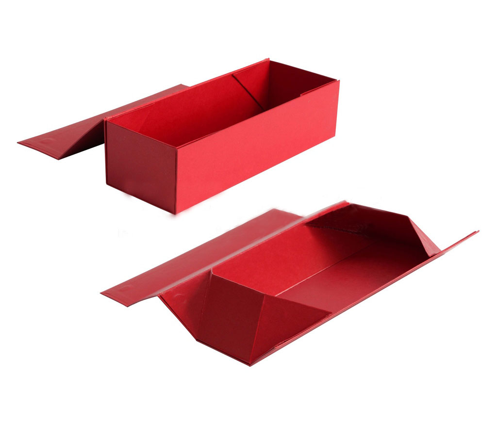 Red wind bottle folding box/wine packaging box/flat foldable gift box