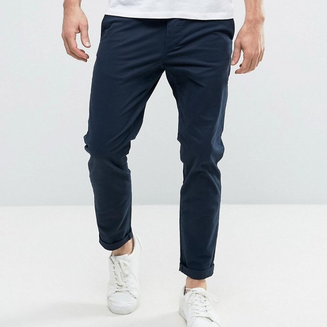 Guangzhou Custom 100% Cotton Breathable Plain Dyed Navy Side Pocket Zip Fly Slim Body Fit Casual Men's Pants