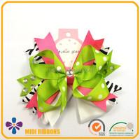 Zebra Print Hair Bow with Rhinestones Ribbon Bow Decorative Hair Clip