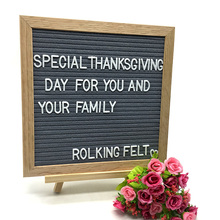 Hot-sell on Amazon 10inches Grey Color Felt Oak Frame Letter Board With Stand Feet and 360 Changeanle Letters