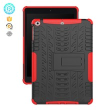 bulk shockproof anti scratch 5 color tpu pc tablet cover case for ipad 2017 9.7 inch with kickstand