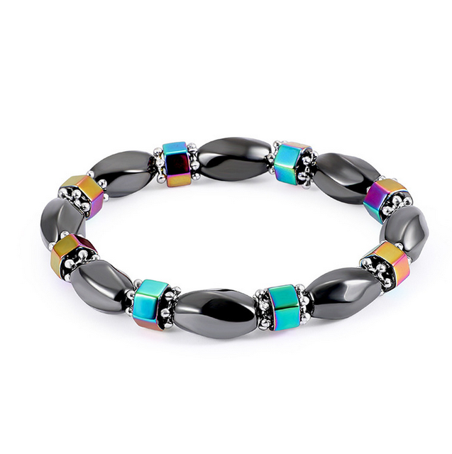Handmade Kids Birthday Mother Easter Party Gift Women Mens Healing Bead Magnetic Black Gallstone Hematite Therapy Bracelets