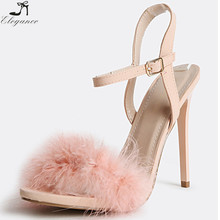 Modest Latest New Trends Ladies Fluffy Feather High Shinny Heels Pink Slide Sandals Women Ankle Strap Stiletto Shoes Bridal
