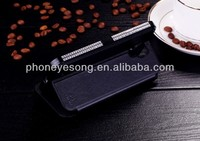 metal with leather case ,rhinestone bumper case,unique case for Samsung S4