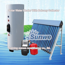 Haining Sunwe Balcony Solar Water Heater System Solar Collector Heat Pipe Pump Station Water Geyser Germany Austria USA Denmark