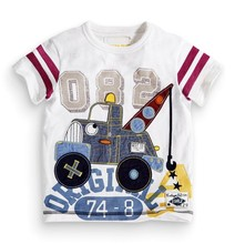 2015 New Design Good Price and Good Quality 100% Cotton Tops Applique Cartoon Printed O-neck Fashion New design t shirts of boys