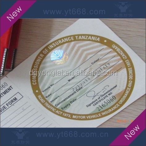 Optical variable ink hologram security printing paper tickets