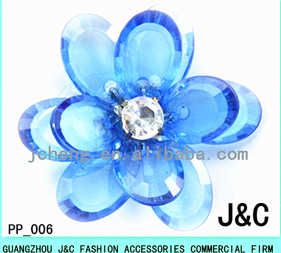 blue color handmade Acrylic Flower for Shoes