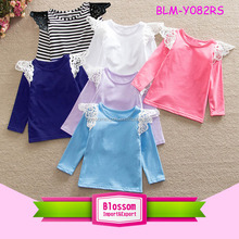 Autumn Boutique Children's Clothing Long Sleeve Girls Lace Flutter Tee T Shirts Plain Blank Top Kids Lace Flutter Sleeve Shirts