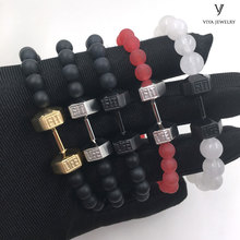 2016 Fashion Bead Jewelry Men Bracelet, 316l Stainless Steel Bracelet, High Quality Dumbell Bracelet