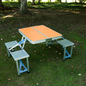 Outdoor Garden Aluminum Portable Camping Table chairs set With 4 Seats