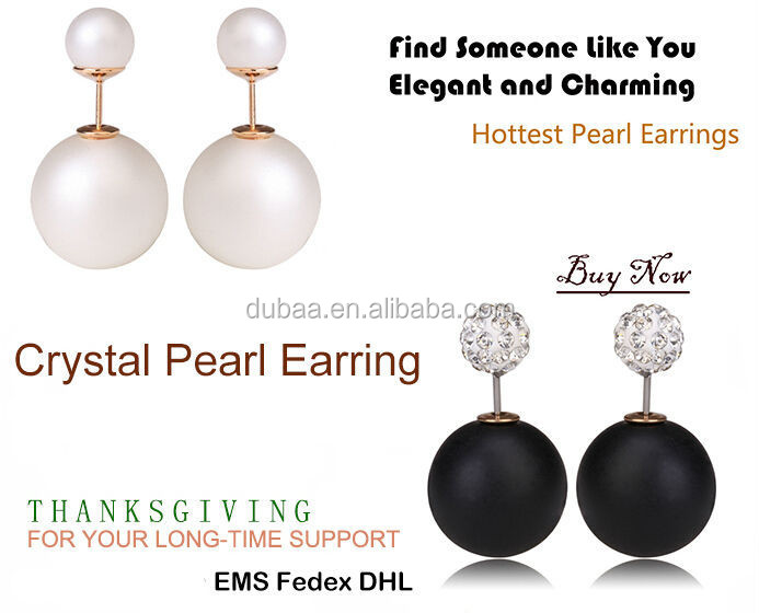 Colorful Women Double Pearl Earrings Cheap Vintage Statement Stud Earring,Charming Double Artificial Bead Earring Ear Stud