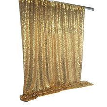 Shimmer metallic gold sequin <strong>wedding</strong> curtain background backdrop drape decoration 10ft *10ft