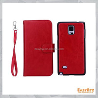 Wholesale Cell phone case book wallet flip leather case cover for Samsung GALAXY Note 4, 2 in 1 case with 9 card slots for Note4