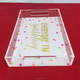 Custom UV printing wholesale clear acrylic trays with handles