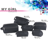 MY GIRL wholesale top quality Latest designer black pu men cosmetic makeup bag Cosmetic Bags & Cases