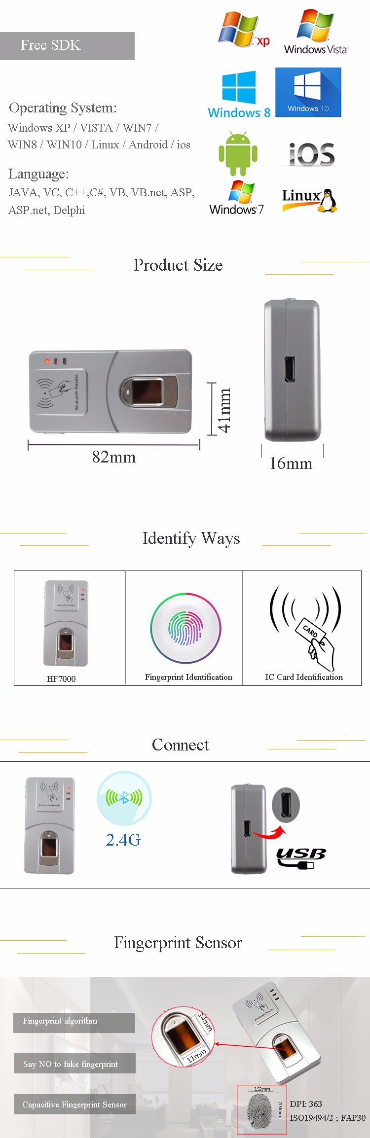 HF7000 Bluetooth Wireless USB Fingerprint Scanner Capacitive Biometric Fingerprint Reader