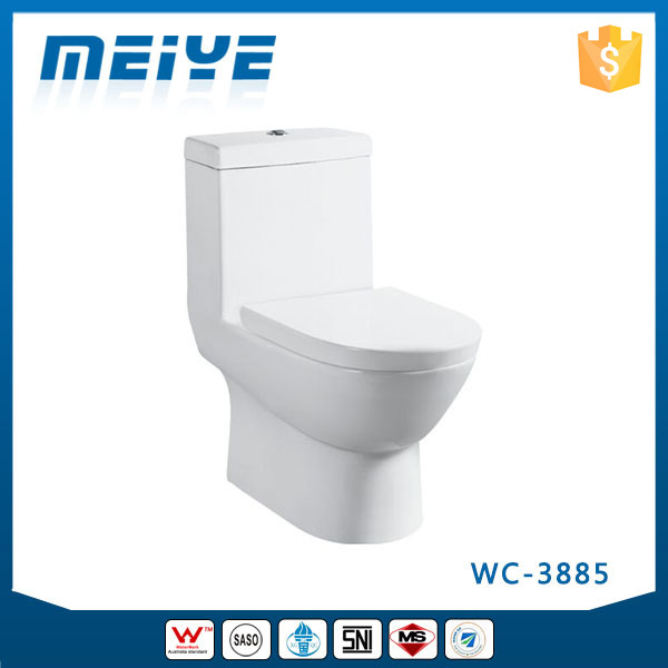 WC-3885 Siphonic Washdown One-Piece Toilet with Soft Closing Cover Ramp Down Closer, Water Closet Toilet Bowl