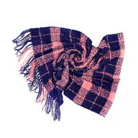 Fashion faux cashmere winter women acrylic plaid pashmina shawl