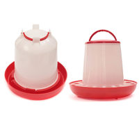 Hot Selling Red+White 3kg Chicken Chicks Hen Feeder And 3 Liter Poultry Drinker Waterer Plastic