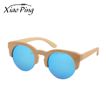 custom half round natural bamboo mens sports sun glasses with mirror polarized lens