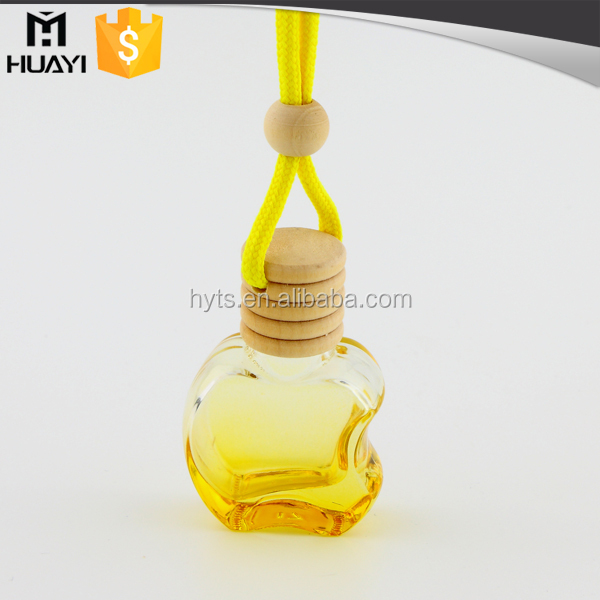 spray color apple shape hanging wooden cap car perfume bottle