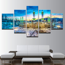Home Decor Modern On The Wall Art Modular 5 Panel Muslim Islam Building For Living Room Abstract Painting On Canvas Pictures
