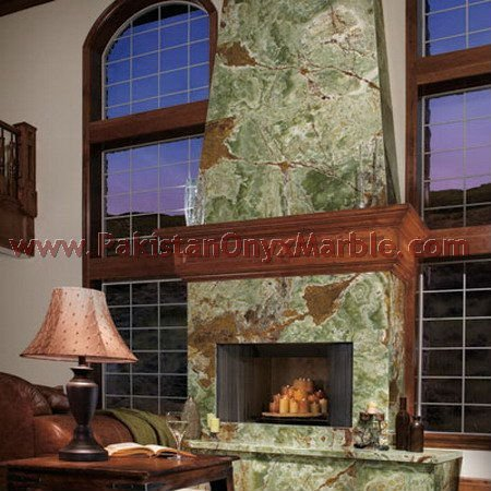 GREEN ONYX INDOOR DECORATIVE HAND CARVED FIREPLACE FIRE PLACE SURROUND MANTEL NATURAL STONE MARBLE