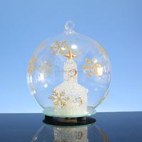 2016 wholesale Glass christmas led light ball with church/ chapel;led beach ball