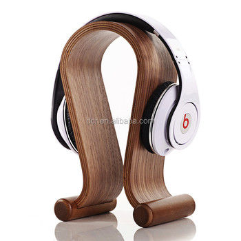 Fashion Natural Wood Bamboo Hard Panel Stand Holder for Earphone Headset Headphones