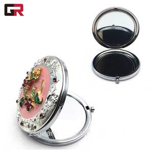 Custom Metal Folding Small Frame Round Cosmetic Make Up Antique Hand Pocket Compact Makeup Mirror