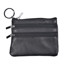 High quality custom mini genuine leather zipper pouch with key ring
