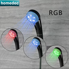 Luxury shower party 3 color Black LED hand shower water temperaturer control RGB 3 color changing LED shower head sprinkler