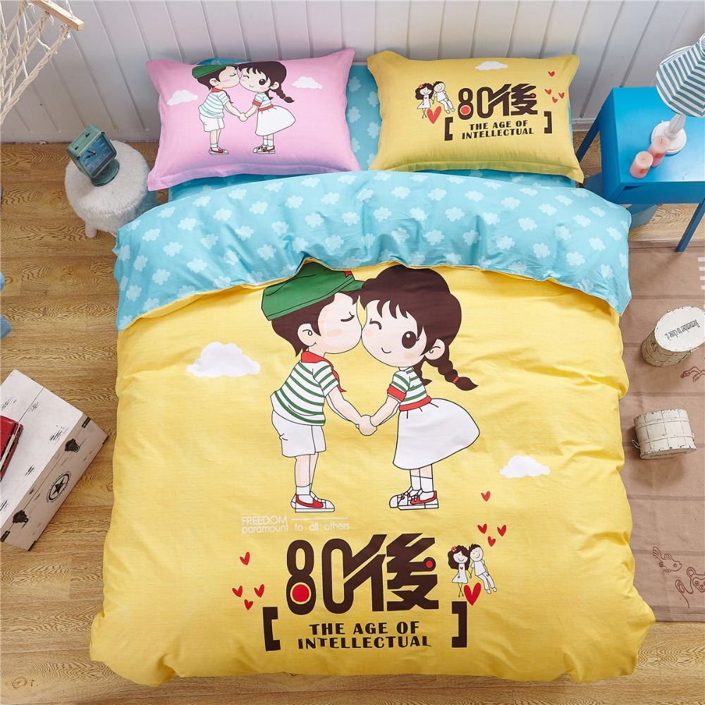 Love Story 100% Cotton Cartoon Kids Bedding Set Comforter Duvet Cover Sets Bedsheet Queen Full Size Pillowcases Home Tetile