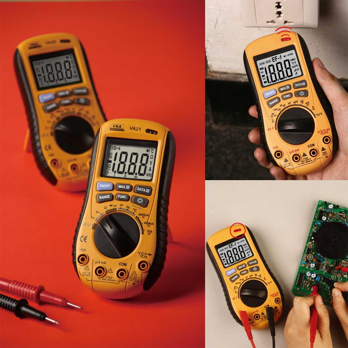 Multimeter With no contact voltage detector V&A multimeter