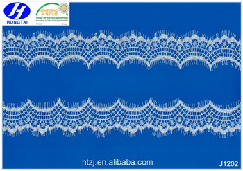 2017 Hongtai hot sale ivory eyelash lace trim/ eyelash lace fabric/ eyelash lace trim