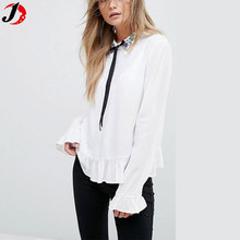 2017 New Look Lady Contrast Tied Detail Embellished Collar White Blouse